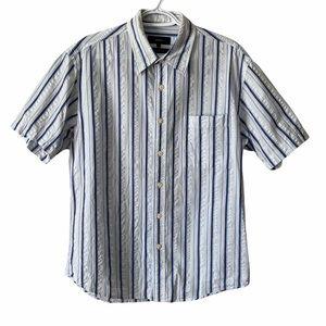 Bossini Mens Stripe Button Up Dress Shirt, Large